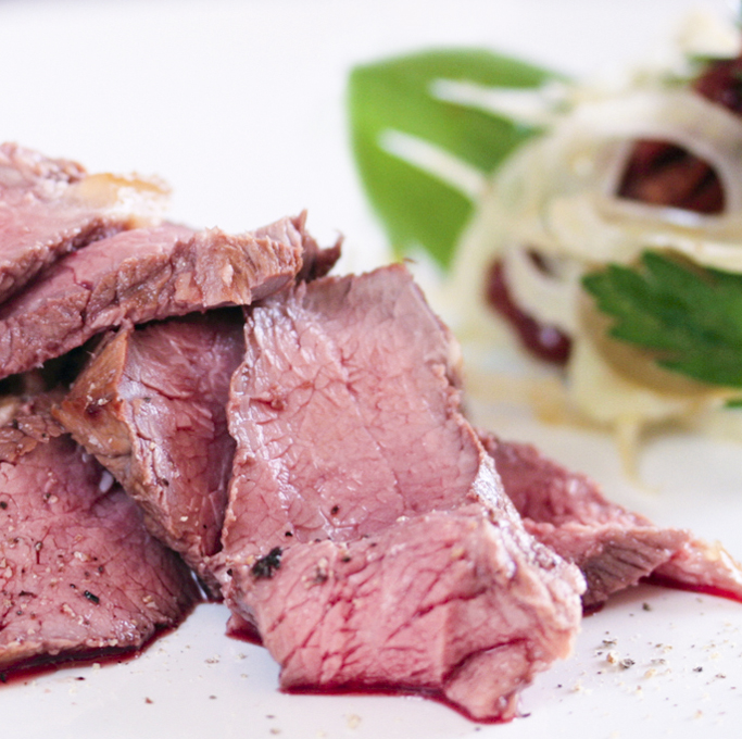 Tea-smoked lamb with fennel, tomato and green olive salad ...
